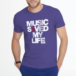 Music saved my life tee-shirt violet