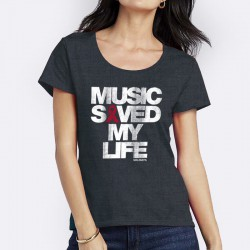 TShirt Music Saved My Life Gris Chiné Foncé