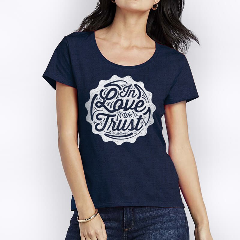TShirt In Love We Trust Bleu Chiné